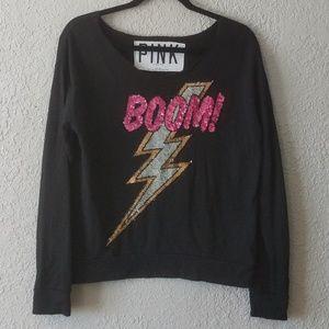 PINK Victoria's secret black BOOM sweater size XS